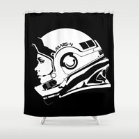 astronaut Shower Curtains featuring Astronaut by Ana C Diaz Cano