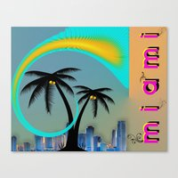 miami Canvas Prints featuring Miami by Dunksauce Art
