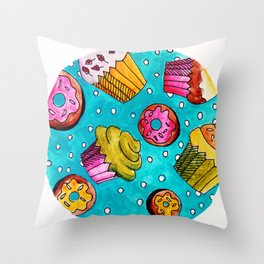 Muffins and doughnuts Throw Pillow