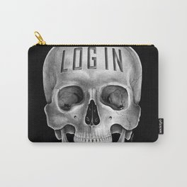Skull Log in B&W Carry-All Pouch