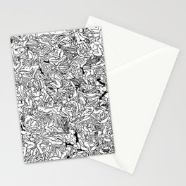 Lots of Bodies Doodle in Black and White Stationery Cards