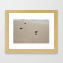 Sandpiper bird on wet sand Framed Art Print