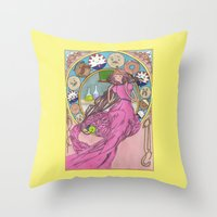 mucha Throw Pillows featuring Mucha Bubblegum by Joyia Kelly