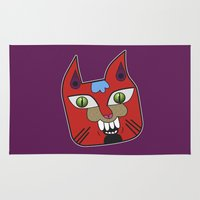 diablo Area & Throw Rugs featuring Gato Diablo by Scribblebro