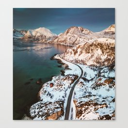 aerial view of the lofoten islands in norway Canvas Print