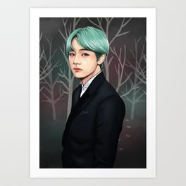 green hair kim taehyung Art Print