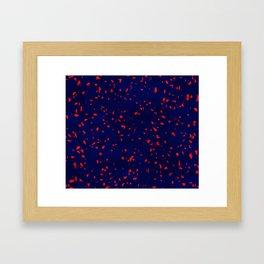 Terrazzo memphis blue galaxy orange Framed Art Print