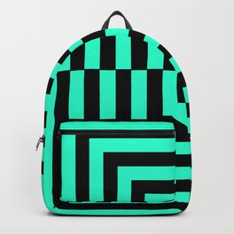 GRAPHIC GRID DIZZY SWIRL ABSTRACT DESIGN (BLACK AND GREEN AQUA) SERIES 5 OF 6 Backpack