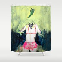 chile Shower Curtains featuring Oración al chile by Violeta Rivera