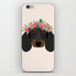 Dachshund floral crown dog breed pet art dachshunds doxie pupper gifts iPhone Skin