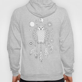 dreamcatcher with owl, yin yang, moon and sun Hoody