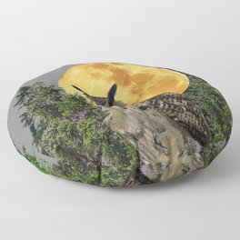 GREY WILDERNESS OWL WITH FULL MOON & PINE TREES Floor Pillow