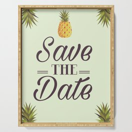 Save the Date Tropical Pineapple wedding invite Serving Tray