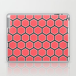 Bright coral, white and black hexagonal pattern Laptop & iPad Skin