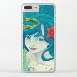 Teal Mermaid Clear iPhone Case