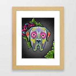 Mastiff in Grey - Day of the Dead Sugar Skull Dog Framed Art Print