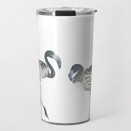 Flamingos in Silvery Blue Travel Mug