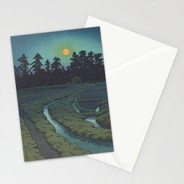 Moon At Ayashi, Miyagi Prefecture - VIntage Japanese Woodblock Print Art Stationery Cards
