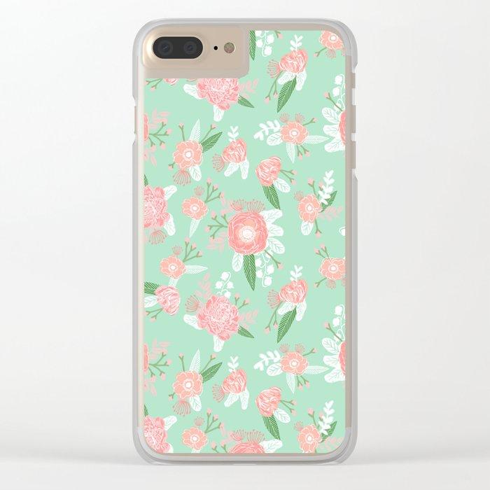 Floral bouquet pastel mint pink florals boho painted pattern basic minimal pattern print Clear iPhone Case