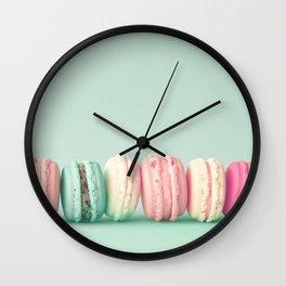Sweet macarons, macaroons over mint Wall Clock
