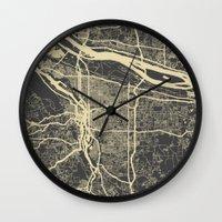 portland Wall Clocks featuring Portland Map by Map Map Maps