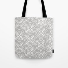 Silver grey lacey floral Tote Bag