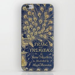 Pride and Prejudice by Jane Austen Vintage Peacock Book Cover iPhone Skin