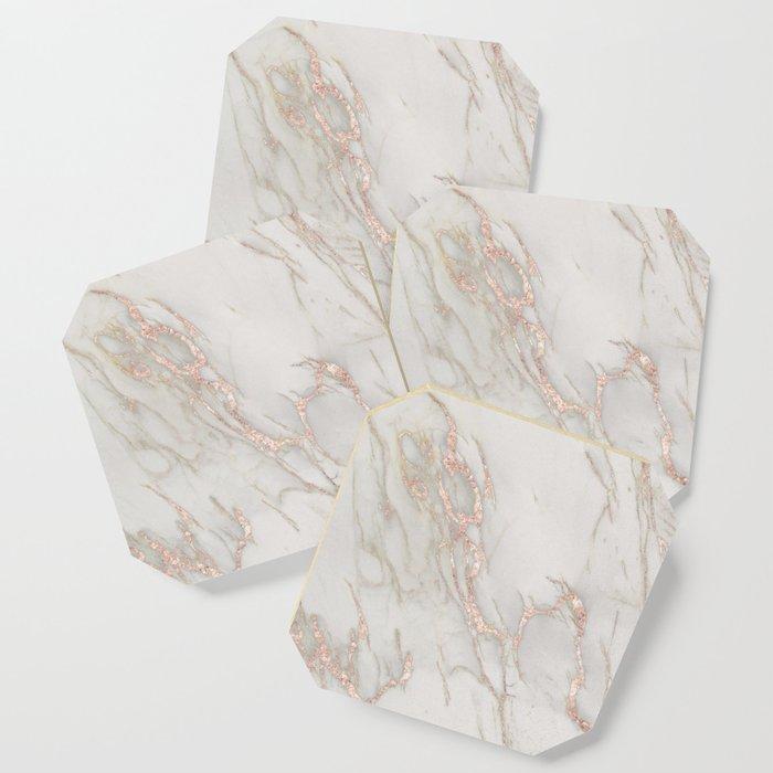 Marble Rose Gold Blush Pink Metallic by Nature Magick Coaster