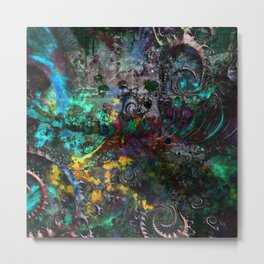 abstract waves multicolored Metal Print