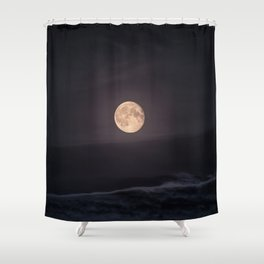 Full Moon over the Ocean Shower Curtain