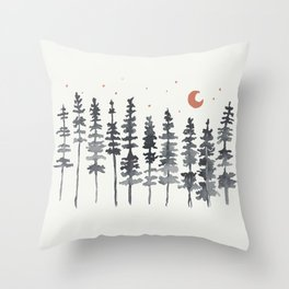 Nighttime Watercolor Forest Throw Pillow