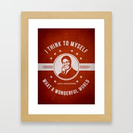 Louis Armstrong - Red Framed Art Print