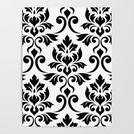 Feuille Damask Pattern Black on White Poster