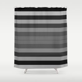 Black and Gray Stripes Shower Curtain