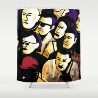 faces Shower Curtains featuring Faces by Helen Syron