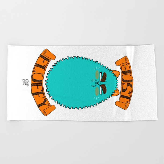 Just Fluffy Teal Beach Towel By Scribblenetty