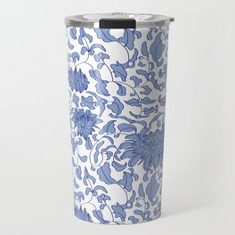 Chinoiserie Vines in Delft Blue + White Travel Mug