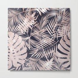 Metallic Blush Leaf Pattern Metal Print