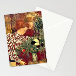 Woman in a Striped Dress by Édouard Vuillard - Les Nabis Oil Painting Stationery Cards