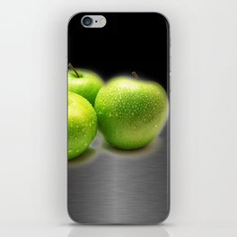 Wet Green Apples on Metallic Background iPhone Skin