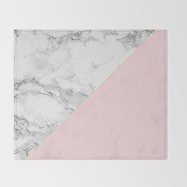 Marble + Pastel Pink Throw Blanket