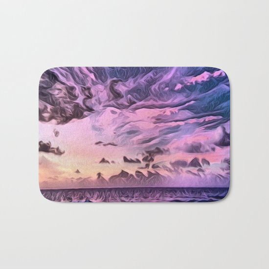 Hawaii Pacific Ocean Romantic Sunset (Painting) Bath Mat