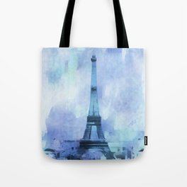 Blue Eifel Tower Paris France abstract painting Tote Bag