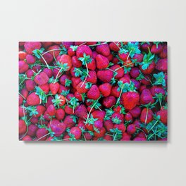 Pattern Of Red Straberries And Green Leaves Metal Print