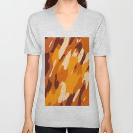 brown yellow and dark brown painting abstract background Unisex V-Neck