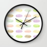macarons Wall Clocks featuring Macarons by Sara Showalter