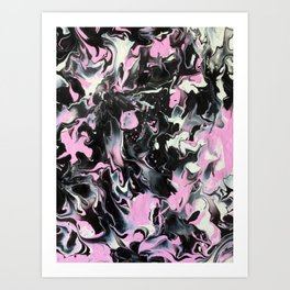 Fluid Acrylic (Black, white and pink) Art Print