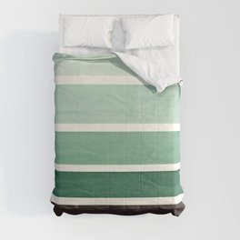 Deep Green Minimalist Watercolor Mid Century Staggered Stripes Rothko Color Block Geometric Art Comforters