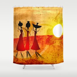 Africa Retro Vintage Style Design Illustration Shower Curtain