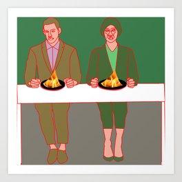 Eating in flames Art Print